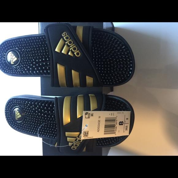 4977b1efc17a Adidas Adissage Black and Gold Slides